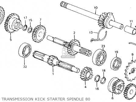 Honda Ct110 Trail 110 1980 a Usa Transmission Kick Starter Spindle 80