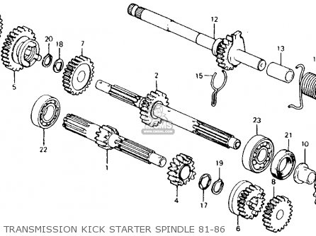 Honda Ct110 Trail 110 1981 b Usa Transmission Kick Starter Spindle 81-86