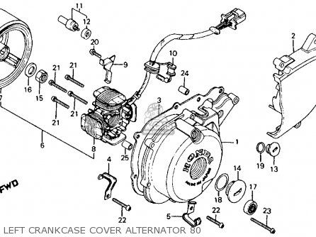Honda Ct110 Trail 1980 a Usa Left Crankcase Cover Alternator 80