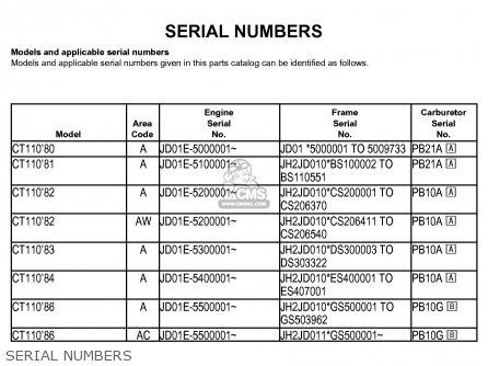 Honda Ct110 Trail 1982 c Usa Washington Police Serial Numbers
