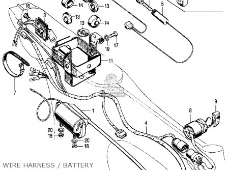 Xr100 Parts Diagram besides Wiring Diagram Kelistrikan Honda Gl 100 as well Es 335 Wire Harness Diagram together with Wiring Diagram For Honda Z50 as well Honda Ct70 Trail 70 K0 1969 Usa Taillight Rear Fender. on honda z50 wiring