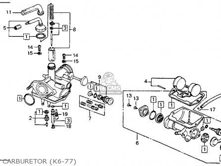 Запчасти для HONDA CT90 1977 CARBURETOR K6-77.