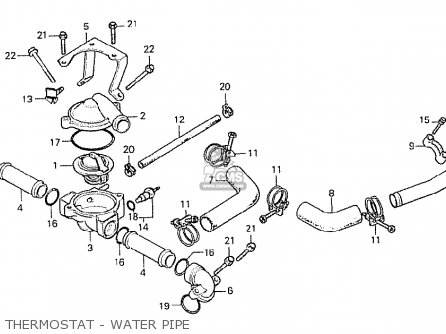 Honda Cx500 1978 General Export Mph Thermostat - Water Pipe