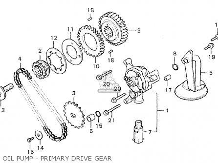Honda Cx500 1980 a Australia Oil Pump - Primary Drive Gear