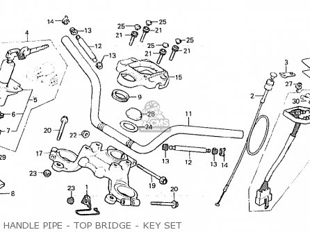 Honda Cx500 1980 a England Handle Pipe - Top Bridge - Key Set