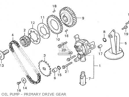 Honda Cx500 1980 a General Export   Mph Oil Pump - Primary Drive Gear