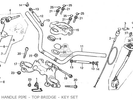 Honda Cx500 1981 b England Handle Pipe - Top Bridge - Key Set
