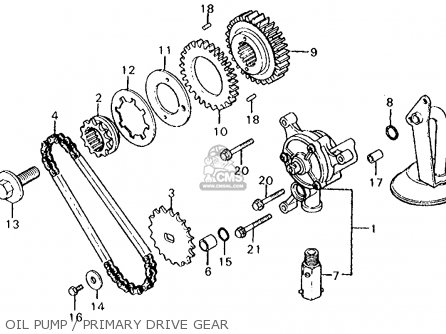 Honda Cx500c Custom 1980 a Usa Oil Pump   Primary Drive Gear