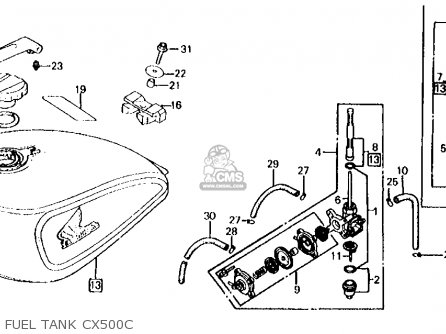 Honda Cx500c Custom 1981 b Usa Fuel Tank Cx500c