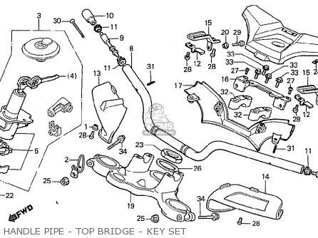 Honda Cx500t Turbo 1982 c Australia Handle Pipe - Top Bridge - Key Set