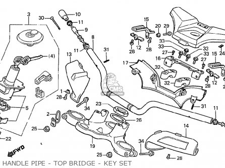 Honda Cx500t Turbo 1982 c Belgium Handle Pipe - Top Bridge - Key Set