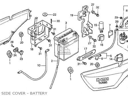 Honda Cx500t Turbo 1982 c Canada Side Cover - Battery