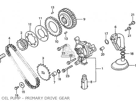 Honda Cx500t Turbo 1982 c England Oil Pump - Primary Drive Gear