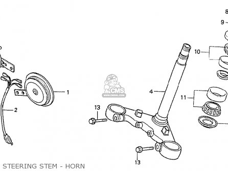 Honda Cx500t Turbo 1982 c European Direct Sales Steering Stem - Horn