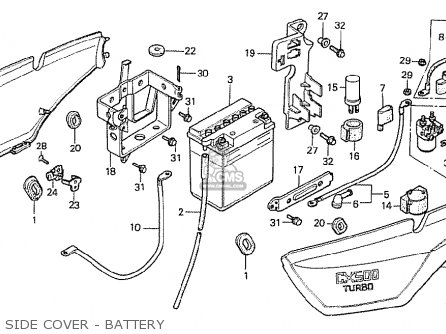 Honda Cx500t Turbo 1982 c France Side Cover - Battery