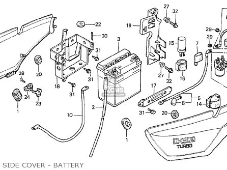 Honda Cx500t Turbo 1982 c Switzerland Side Cover - Battery