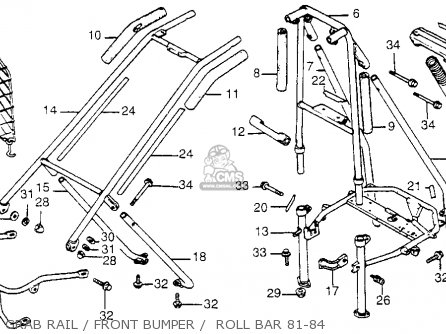 Honda Fl250 1984 Usa Grab Rail   Front Bumper    Roll Bar 81-84
