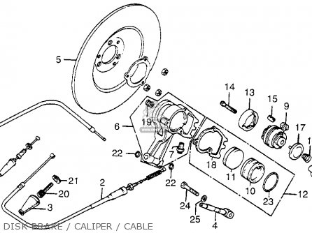 Honda Fl250 Odyssey 1980 a Usa Disk Brake   Caliper   Cable