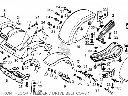 Honda Fl250 Odyssey 1980 a Usa Front Floor   Fender   Drive Belt Cover
