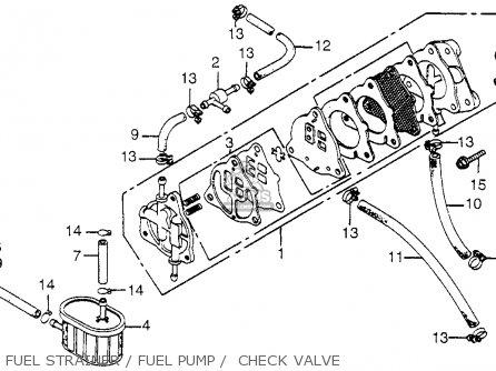 Honda Fl250 Odyssey 1980 a Usa Fuel Strainer   Fuel Pump    Check Valve