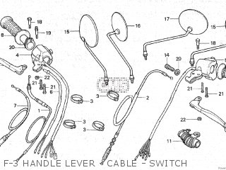 Honda Gl100 1981 b Malaysia F-3 Handle Lever - Cable - Switch