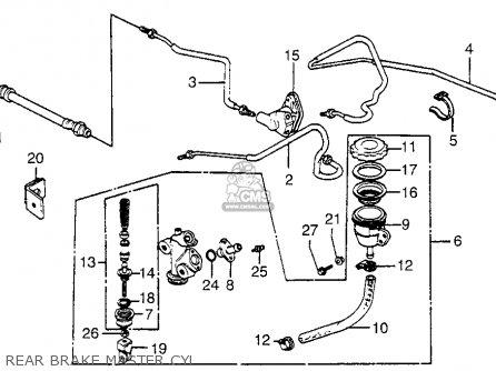 Honda Gl1100i Goldwing Interstate 1983 d Usa Rear Brake Master Cyl