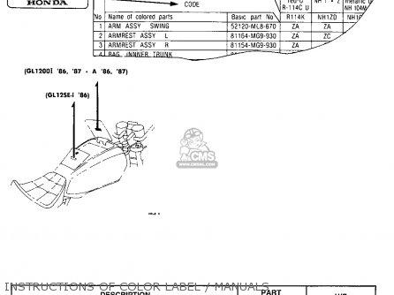 Honda Gl1200a Goldwing Aspencade 1986 g Usa Instructions Of Color Label   Manuals