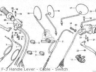 Honda Gl125 1981 b Malaysia F-3 Handle Lever - Cable - Switch
