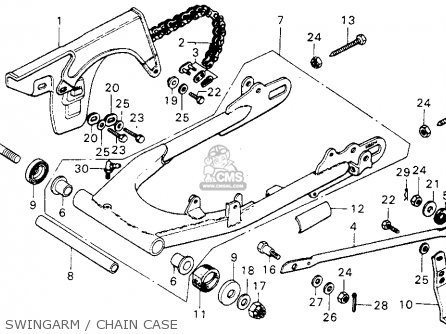 Honda Mt125 Elsinore 1974 K0 Usa Swingarm   Chain Case