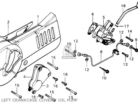 Honda Mt125 Elsinore 1974 Mt125k0 Usa Left Crankcase Cover   Oil Pump