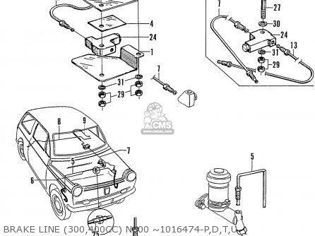 Honda N600 Coupe Stationwagon kg Kf Ke Kb Kq Ks Kj Kp Kd Kt Ku Brake Line 300 400cc N600 ~1016474-p d t u