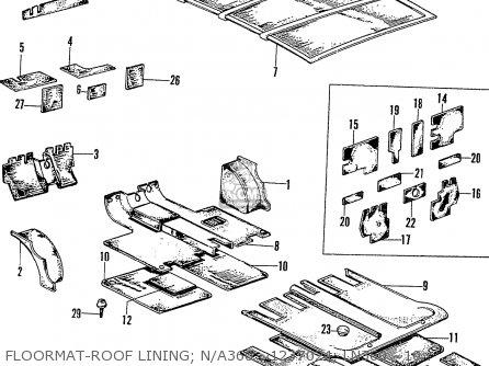 Honda N600 Coupe Stationwagon kg Kf Ke Kb Kq Ks Kj Kp Kd Kt Ku Floormat-roof Lining  N a360 ~1237024  Ln360 ~1093077  N a600 ~1