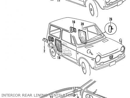Honda N600 Coupe Stationwagon kg Kf Ke Kb Kq Ks Kj Kp Kd Kt Ku Interior Rear Lining Ventilator