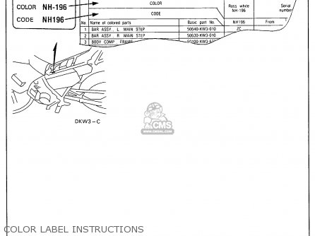 Honda Nx250 1989 Usa Color Label Instructions