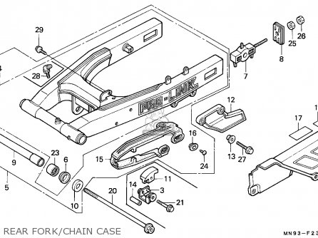 Honda Nx650 Dominator 1988 England   Mkh Rear Fork chain Case