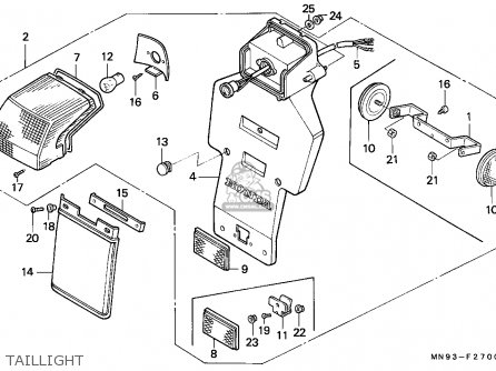 Honda Nx650 Dominator 1988 England   Mkh Taillight
