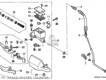Honda Nx650 Dominator 1988 j England   Mkh Fr  Brake Master Cylinder