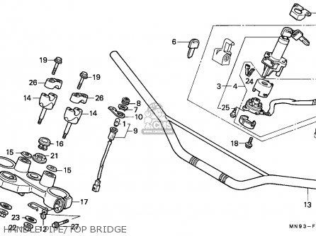 Honda Nx650 Dominator 1988 j England   Mkh Handle Pipe top Bridge