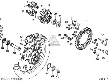 Honda Nx650 Dominator 1988 j England   Mkh Rear Wheel