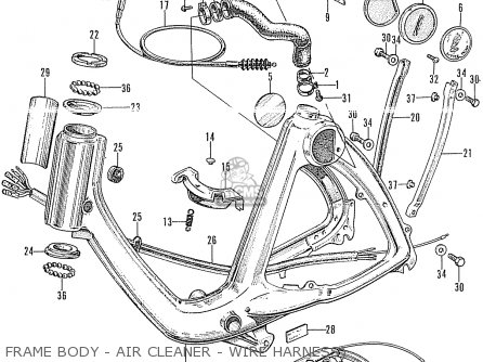Honda P50 Little Honda General Export Frame Body - Air Cleaner - Wire Harness