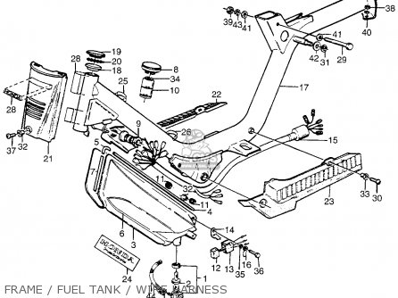 Honda Pa50ii Hobbit 1981 b Usa   30 Mph Frame   Fuel Tank   Wire Harness