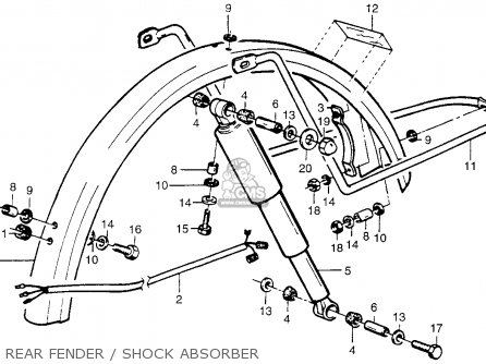 Honda Pa50ii Hobbit 1981 b Usa   30 Mph Rear Fender   Shock Absorber