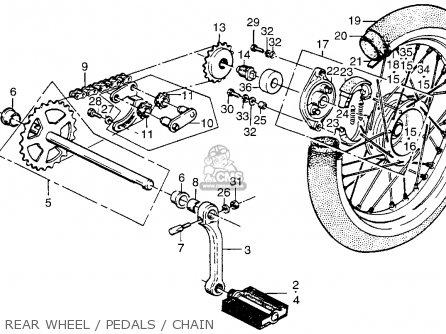 Honda Pa50ii Hobbit 1981 b Usa   30 Mph Rear Wheel   Pedals   Chain