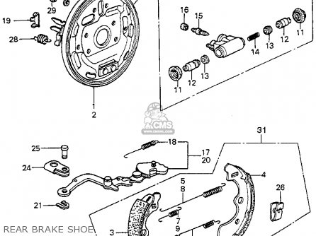 Honda Prelude 1982 2dr kl ka kh Rear Brake Shoe