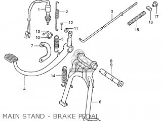 Honda S110 Benly general Export Type 5 Main Stand - Brake Pedal