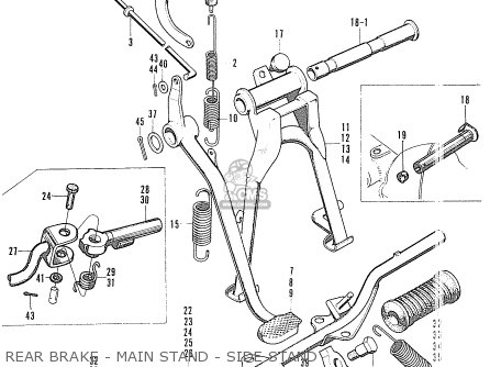 Honda S90 Super Sport General Export Rear Brake - Main Stand - Side Stand