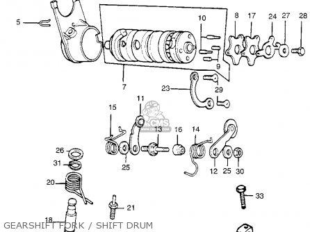Honda Tl250 Trials 1975 Tl250k0 Usa Gearshift Fork   Shift Drum
