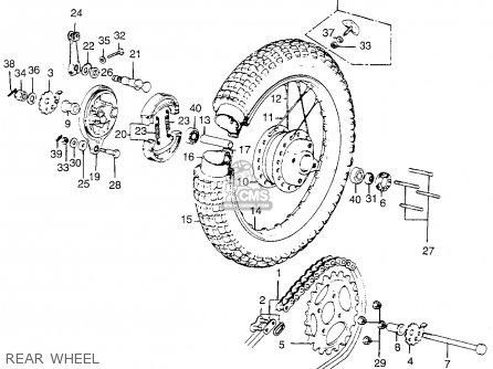 Honda Tl250 Trials K0 1975 Usa Rear Wheel
