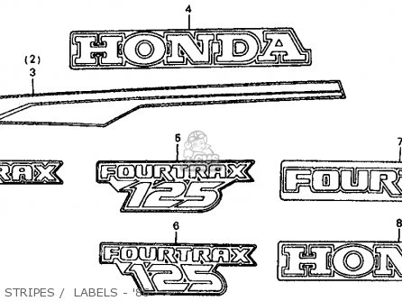 Honda Trx125 Fourtrax 125 1986 g Usa Stripes    Labels - 86