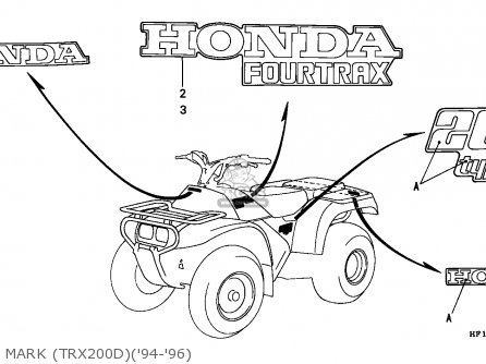 Honda Trx200d Fourtrax 1995 U s a new Hampshire Only   Ssw Mark trx200d94-96